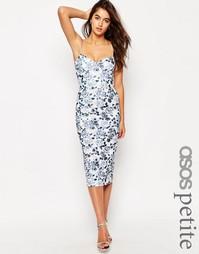 Светло-кремовое платье‑футляр с цветочным принтом ASOS PETITE - Синий