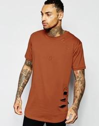 Потертая длинная футболка Criminal Damage - Красно-бурый