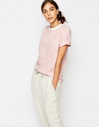 Розовая футболка в полоску Selected - Розовые полоски