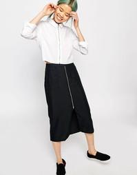 Юбка миди с карманами и молнией спереди Monki - Черный