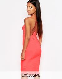 Платье миди с перекрестными бретелями сзади Club L - Неоновый розовый