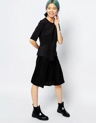 Плиссированная юбка миди Monki - Черный