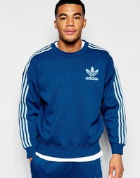 Синий oversize-свитшот с фирменной отделкой adidas Originals B10662