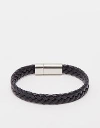 Плетеный кожаный браслет Hugo Boss - Черный