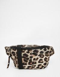 Сумка-кошелек на пояс с леопардовым принтом ASOS - Черный