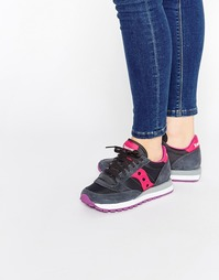 Темно-серые кроссовки с розовой отделкой Saucony Jazz Original