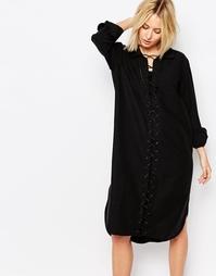 Платье на шнуровке спереди Weekday - Черный