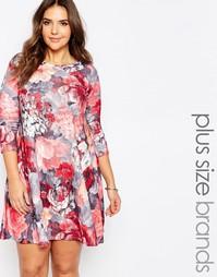 Свободное платье размера плюс с цветочным принтом Praslin - Мульти
