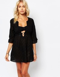 Ажурное пляжное платье-туника Echo - Черный