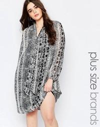 Цельнокройное платье с горловиной на завязке и животным принтом Koko P