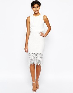 Платье-футляр с укороченным топом и кружевной юбкой миди ASOS