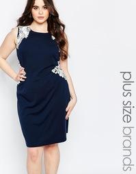 Платье-футляр с вышивкой Koko Plus - Темно-синий