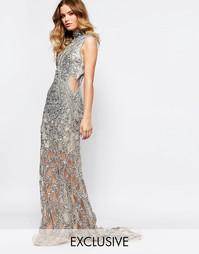 Платье макси с высоким воротом A Star Is Born Luxe - Серебряный
