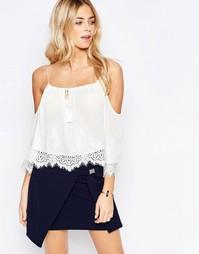 Топ с открытыми плечами, вышивкой и кисточками Parisian - Белый