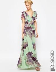 Платье макси с цветочным принтом ASOS TALL - Мульти