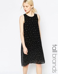Цельнокройное платье с принтом листьев Y.A.S Tall - Черный