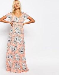 Платье макси с цветочным принтом и бретельками Fashion Union - Розовый