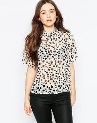 Рубашка в горошек Vila - Снежно-белый с принтом