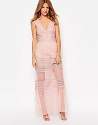 Платье макси с полупрозрачными вставками Millie Mackintosh - Розовый