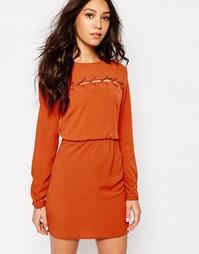 Платье с шнуровкой First & I - Красно-бурый с оранжевым