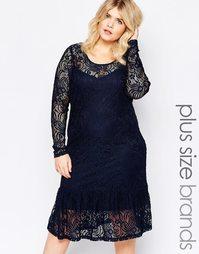 Платье с длинными рукавами и кружевной отделкой Junarose - Темно-синий