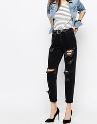 Черные выбеленные джинсы в винтажном стиле с прорехами и потертостями Asos