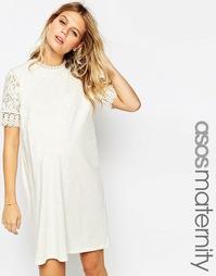 Цельнокройное платье для беременных ASOS Maternity - Кремовый
