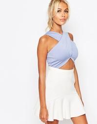Укороченный топ с запахом спереди Fashion Union - Синий
