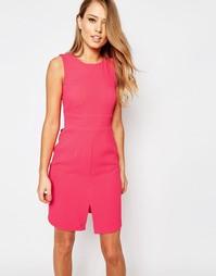 Платье миди с разрезом спереди и завязкой сзади Closet - Малиновый