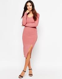 Платье миди в рубчик с разрезами по бокам Club L - Розовый