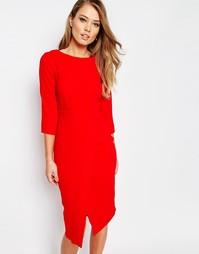 Платье миди с рукавами 3/4 и запахом спереди Closet - Красный