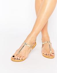 Золотые сандалии на плоской подошве Miss KG Riva - Золотой