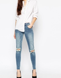 Рваные джинсы скинни Vila - Среднесиний