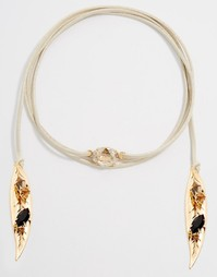 Ожерелье-чокер со стразами Swarovski и перьями Krystal