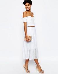Плиссированная кружевная юбка миди ASOS - Белый