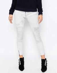 Мраморные байкерские джинсы с молнией на манжетах Only Royal