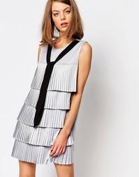 Платье с контрастной завязкой спереди Sister Jane Rivier - Серый