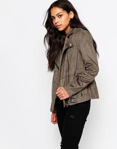 Байкерская куртка из искусственной замши с поясом Only Rhonda - Falcon