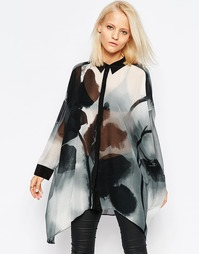 Oversize-рубашка с размытым цветочным принтом Religion - Whither