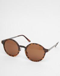 Круглые солнцезащитные очки Selected Homme - Коричневый