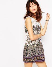 Короткое приталенное платье со вставкой кроше Brave Soul - Темно-синий