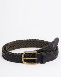 Черный суперузкий плетеный кожаный ремень ASOS - Черный