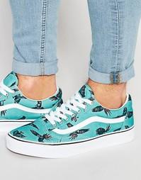 Зеленые кроссовки с попугаями Vans Old Skool V3Z6IDK - Зеленый