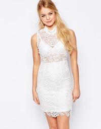 Кружевное платье‑футляр с высокой горловиной Glamorous - Белый