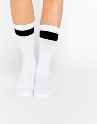 Университетские носки с широкой полоской Monki - Белый