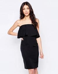 Платье-бандо с оборкой Glamorous - Черный
