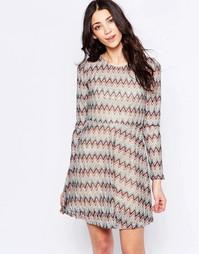 Короткое приталенное платье в полоску Glamorous - Stone blue knit