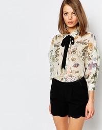 Рубашка с цветочным принтом и контрастными завязками-ленточками Sister