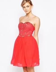 Короткое приталенное платье Little Mistress - Коралловый