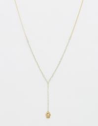 Y-образное ожерелье с подвеской хамса Orelia - Бледно-золотистый
